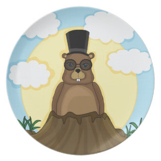Groundhog day party plates