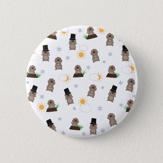 Groundhog Day Pattern 2 Inch Round Button