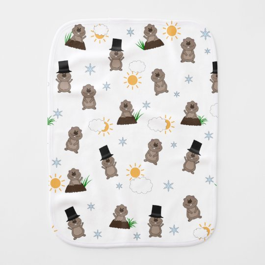 Groundhog Day Pattern Burp Cloth