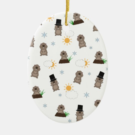 Groundhog Day Pattern Ceramic Ornament
