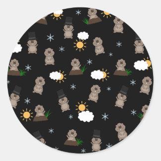 Groundhog Day Pattern Classic Round Sticker