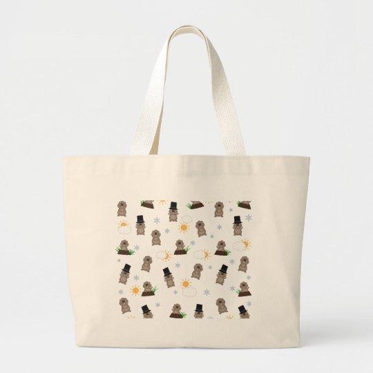 Groundhog Day Pattern Large Tote Bag