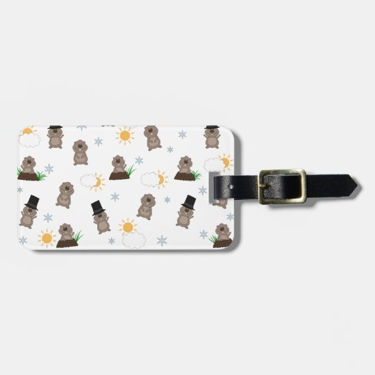 Groundhog Day Pattern Luggage Tag