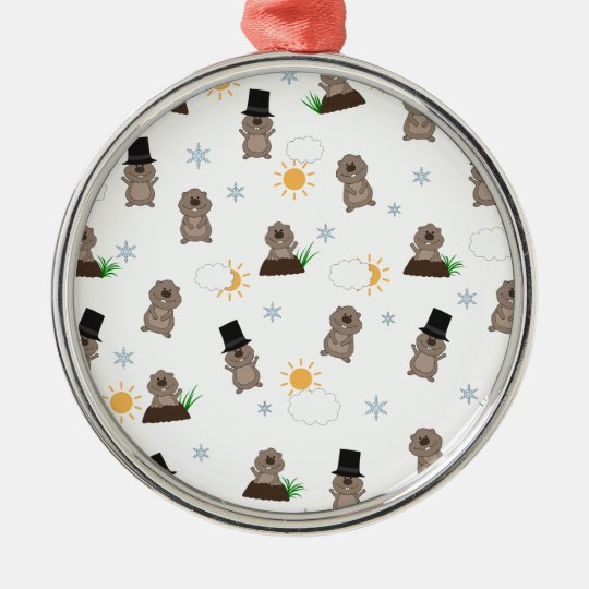 Groundhog Day Pattern Metal Ornament