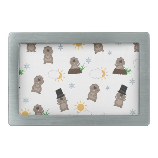 Groundhog Day Pattern Rectangular Belt Buckles