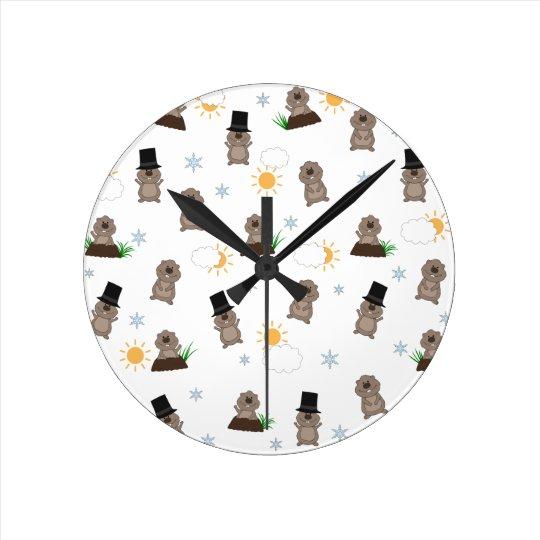 Groundhog Day Pattern Round Clock