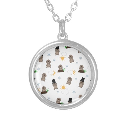 Groundhog Day Pattern Silver Plated Necklace