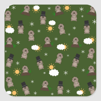 Groundhog Day Pattern Square Sticker