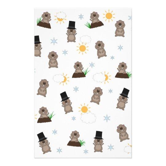 Groundhog Day Pattern Stationery