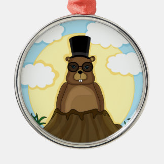 Groundhog day Silver-Colored round ornament