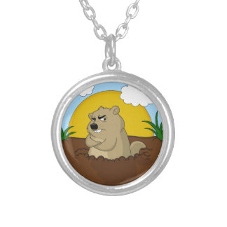 Groundhog day silver plated necklace