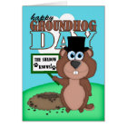 Groundhog Day With Cute Cartoon Groundhog Card