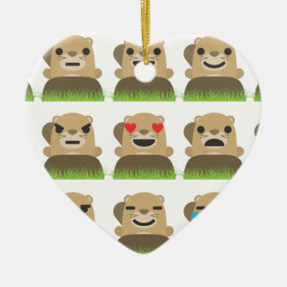 groundhog emojis ceramic ornament