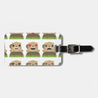 groundhog emojis luggage tag