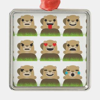 groundhog emojis metal ornament