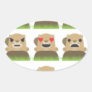 groundhog emojis oval sticker