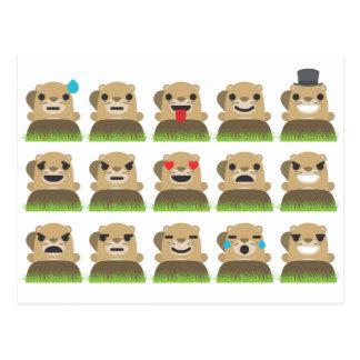 groundhog emojis postcard