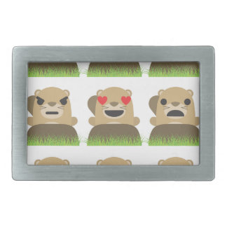 groundhog emojis rectangular belt buckle