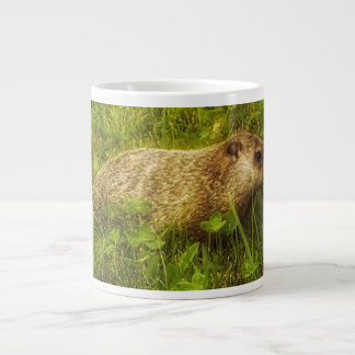 Groundhog in a field mug