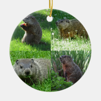 Groundhog Medley Ceramic Ornament