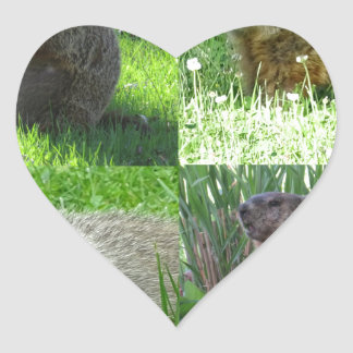 Groundhog Medley Heart Sticker