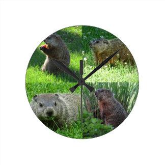 Groundhog Medley Round Clock