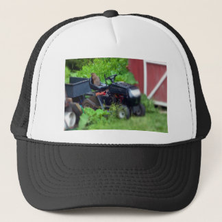 Groundhog on a  Lawn Mower Trucker Hat