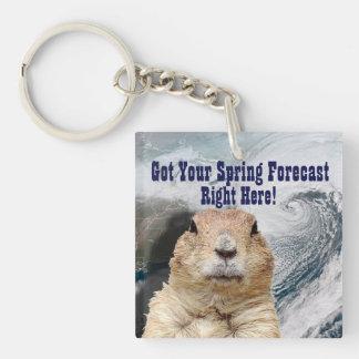 Groundhog Spring Forecast Keychain