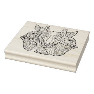 Group Animal Doodle Rubber Stamp