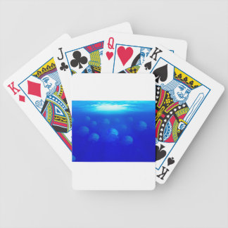 Group blue jellyfish in the Atlantic ocean swiming Bicycle Playing Cards