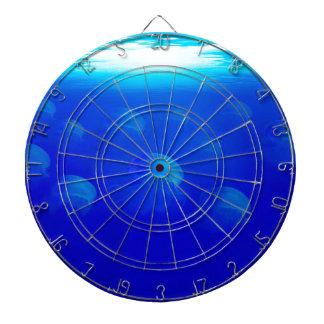 Group blue jellyfish in the Atlantic ocean swiming Dart Board