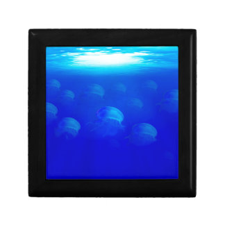 Group blue jellyfish in the Atlantic ocean swiming Gift Box