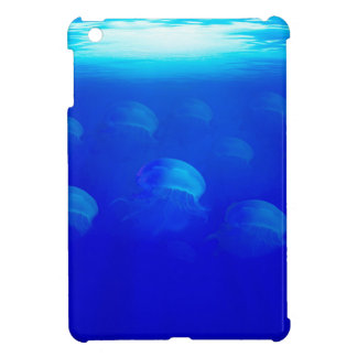 Group blue jellyfish in the Atlantic ocean swiming iPad Mini Cover