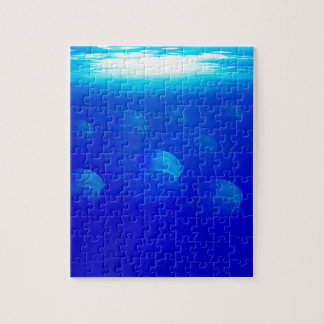 Group blue jellyfish in the Atlantic ocean swiming Jigsaw Puzzle