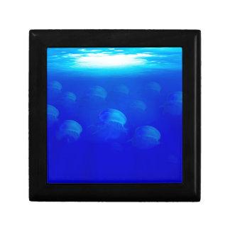 Group blue jellyfish in the Atlantic ocean swiming Keepsake Boxes