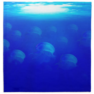 Group blue jellyfish in the Atlantic ocean swiming Napkin