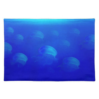Group blue jellyfish in the Atlantic ocean swiming Placemat