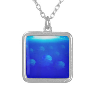 Group blue jellyfish in the Atlantic ocean swiming Silver Plated Necklace