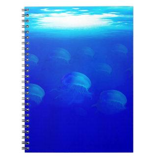 Group blue jellyfish in the Atlantic ocean swiming Spiral Notebook
