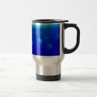 Group blue jellyfish in the Atlantic ocean swiming Travel Mug