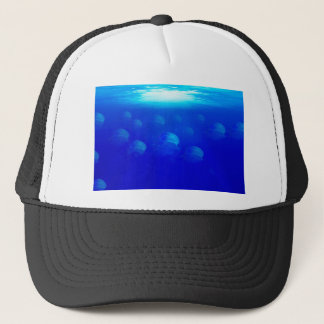 Group blue jellyfish in the Atlantic ocean swiming Trucker Hat