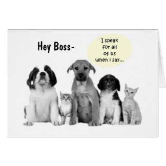 """GROUP BOSS'S BIRTHDAY HUMOR"""" DOGS DOGS DOGS GREETING CARD"""