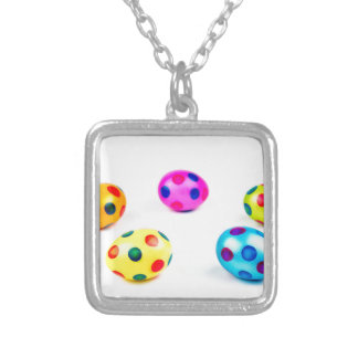 Group colorful painted chicken easter eggs silver plated necklace