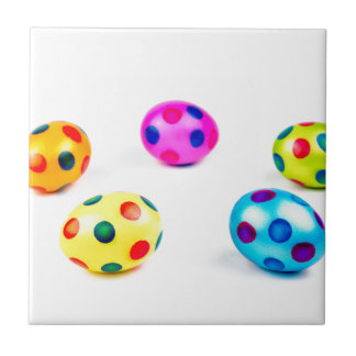 Group colorful painted chicken easter eggs tiles