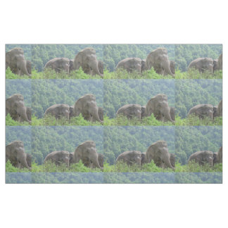 Group of Asian Elephants in Lush Green Photoprint Fabric