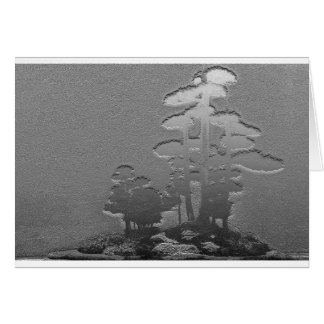 Group of Bonsai Pine Trees in Metallic Silver Card