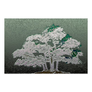Group of Bonsai Trees in Metallic Green Poster