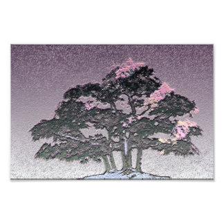 Group of Bonsai Trees in Metallic Purple Photo Print