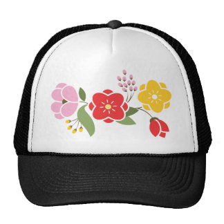 Group of Flowers in Red Pink and Gold Hats