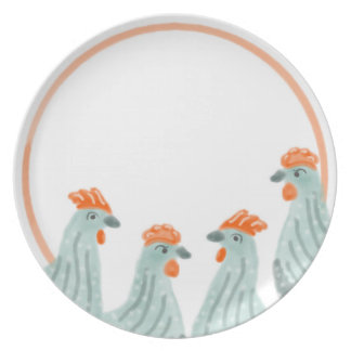 Group of Four Chickens on a Plate